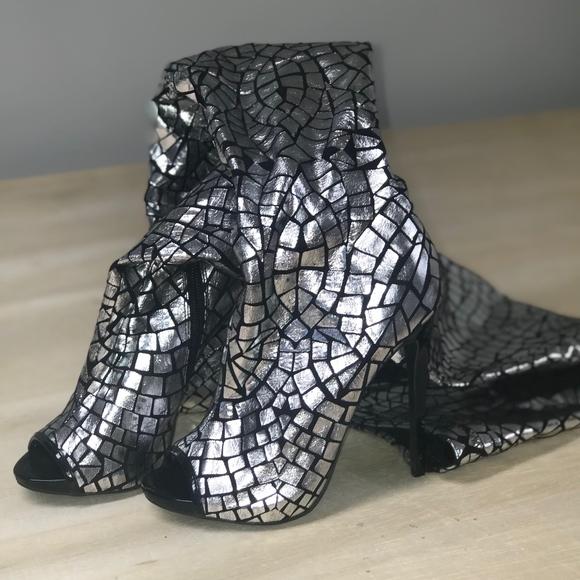 38ec970e923c2 bebe Shoes   Mosaic Print Thigh High Peep Toe Boots   Poshmark